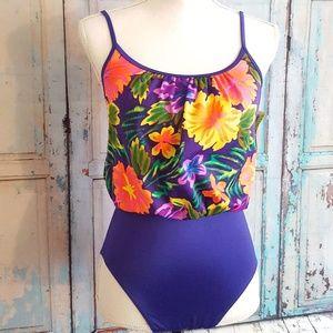 CHRISTINA Vintage Hawaiian Floral Swimsuit Size 10
